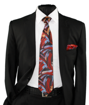 High Definition Tie with Round Hanky-19012 HDMWTR-19012