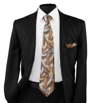 High Definition Tie with Round Hanky-19013 HDMWTR-19013