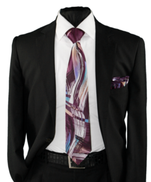 High Definition Tie with Round Hanky-19014 HDMWTR-19014