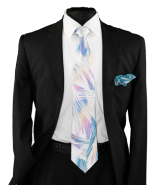 High Definition Tie with Round Hanky-19016 HDMWTR-19016