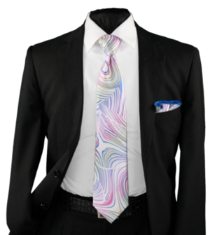 High Definition Tie with Round Hanky-19020 HDMWTR-19020