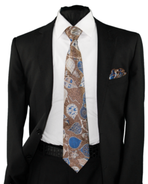 High Definition Tie with Round Hanky-19021 HDMWTR-19021