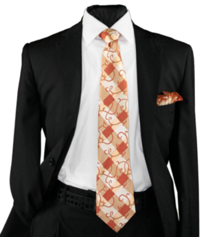 High Definition Tie with Round Hanky-19025 HDMWTR-19025