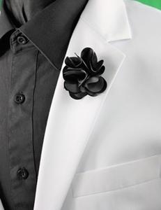 Petal Lapel Flower-13256 Black PLF-13256Black
