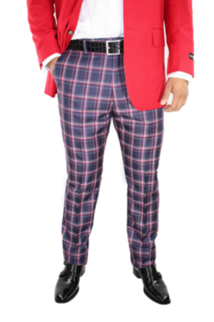 Checkered Slim Fit Pants- Red csfpred