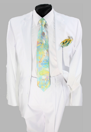 Business 2 Button Suit White b2bswhite