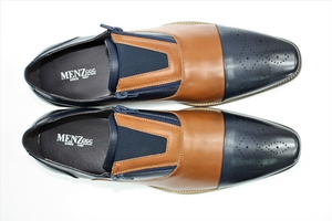 Zip on Menz 010 Navy-Cognac ZIPONMENZ010-Navy-Cognac