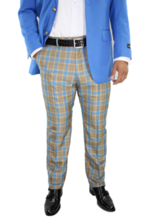 Checkered Slim Fit Pants- Blue and Gold csfpbluegold