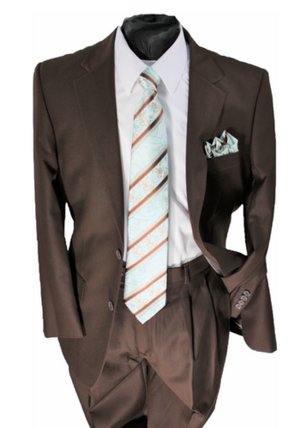 Business 2 Button Suit Brown b2bsbrown