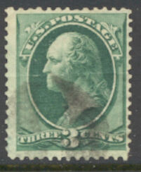 147 3c Washington, green, without grill, Used   F-VF #147used