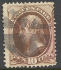 150 10c Jefferson, brown, without grill, Used  F-VF #150used