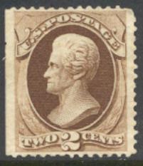 157 2c Jackson, brown, Continental Printing, Unused Minor Defects #157ogmd