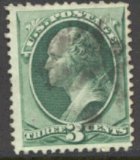 158 3c Washington, green, Continental Printing, Used  F-VF #158used