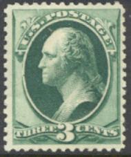 158 3c Washington, green, Continental Printing, Unused OG  F-VF #158og
