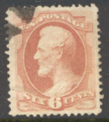159 6c Lincoln, dull pink, Used AVG-F #159usedavg