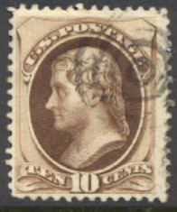 161 10c Jefferson, brown, Used Minor Defects #161usedmd