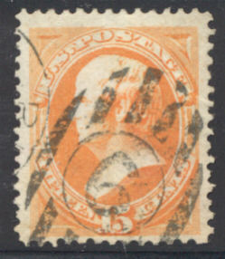 163 15c Webster, yellow orange, Used Minor Defects #163usedmd