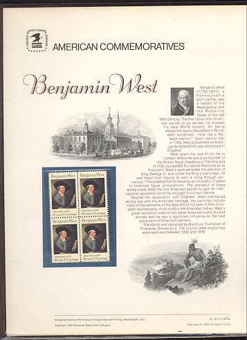 1553 10c Benjamin West USPS Cat. 43 Commemorative Panel #cp043