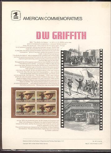 1555 10c D. W. Griffith USPS Cat. 50 Commemorative Panel #cp050