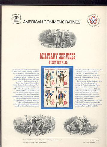 1565-68 10c Military Services USPS Cat. 52 Commemorative Panel #cp052