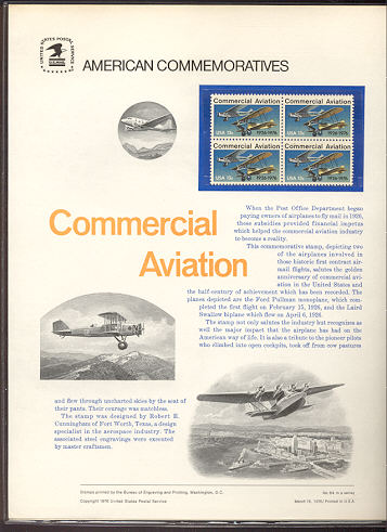 1684 13c Commercial Aviation USPS Cat. 64  Commemorative Panel #cp064
