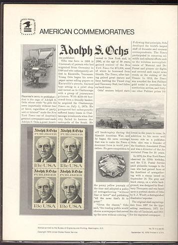 1700 13c Adolph S. Ochs USPS Cat. 70 Commemorative Panel #cp070