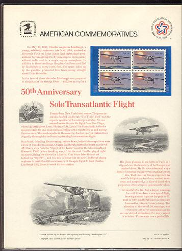1710 13c Lindbergh Flight USPS Cat. 76 Commemorative Panel #co076