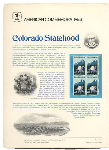 1711 13c Colorado USPS Cat. 77 Commemorative Panel #cp077