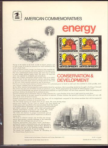 1723-24 13c Energy Conservation USPS Cat. 87  Commemorative Panel #cp087
