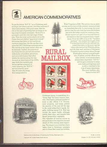 1730 13c Christmas-Rural Mail Box USPS Cat. 89 Comm Panel #cp089