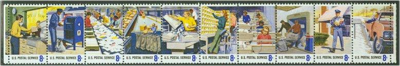 1489-98 8c Postal People Set of 10 Singles Used #1489-98usg