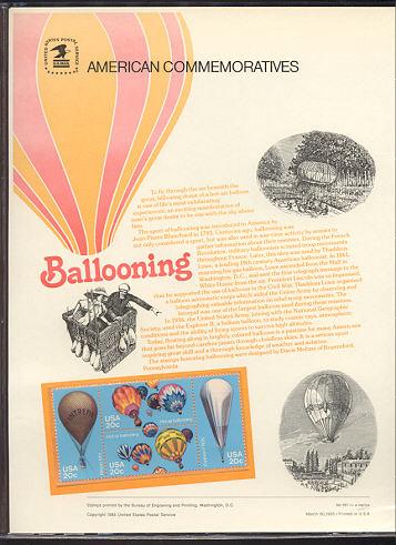2032-35 20c Balloons USPS Cat. 181 Commemorative Panel #cp181