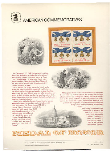 2045 20c Medal of Honor USPS Cat. 190 Commemorative Panel #cp190