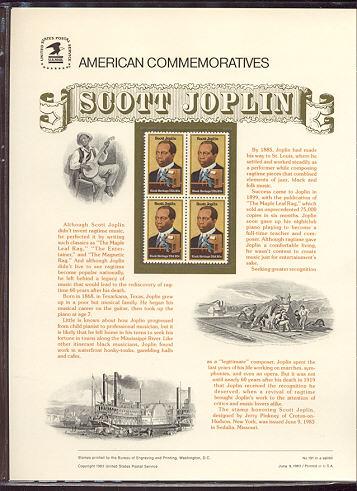 2044 20c Scott Joplin USPS Cat. 191 Commemorative Panel #cp191
