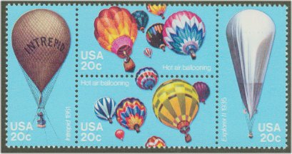 2032-5 20c Balloons F-VF Mint NH Plate Block of 4 #2032pb