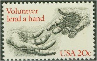 2039 20c Volunteerism F-VF Mint NH Plate Block of 20 #2039pb
