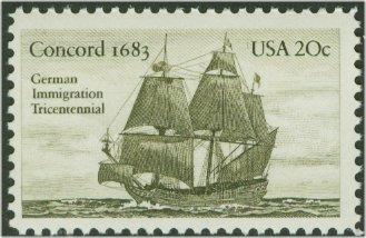 2040 20c German Immigrants F-VF Mint NH #2040nh
