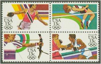 2048-51 13c Olympics Attached block of 4 Used #2048-51attu