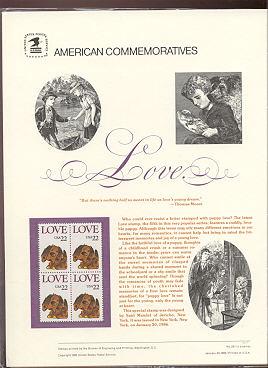 2202 22c Love-Puppy USPS Cat. 257 Commemorative Panel #cp257