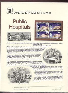 2210 22c Public Hospitals USPS Cat. 261 Commemorative Panel #cp261