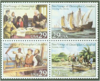 2620-3 29c First Voyage of Columbus Attached block of 4 Used #2620-3attu