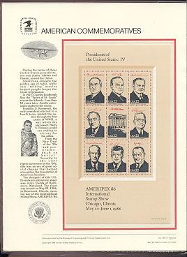 2216-19 22c President Sheets USPS Cat. 263-6  Commemorative Panels #cp266