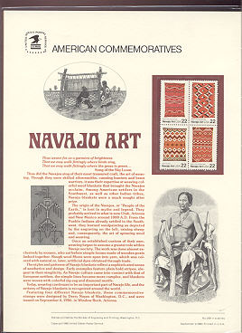 2235-38 22c Navajo Art USPS Cat. 269 Commemorative Panel #cp269