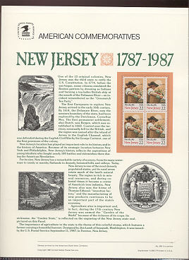 2338 22c New Jersey USPS Cat. 293 Commemorative Panel #cp293