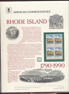 2348 25c Rhode Island USPS Cat. 351 Commemorative Panel #cp351
