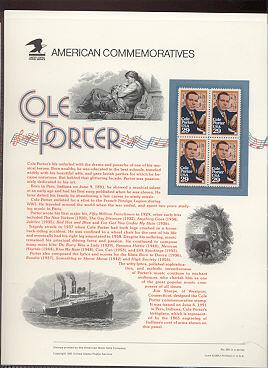 2550 29c Cole Porter USPS Cat. 365 Commemorative Panel #cp365