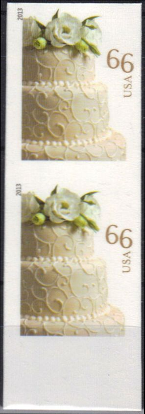 4735i 66c Wedding Cake Vertical Imperf Pair #4735ivp
