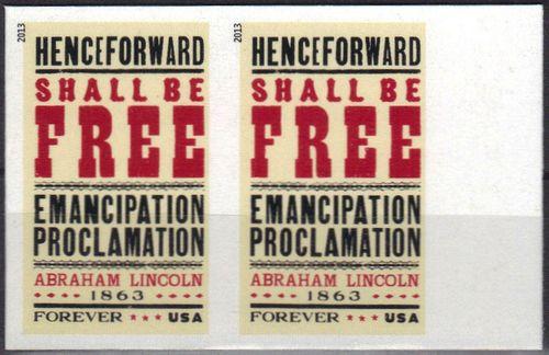 4721i (45c) Emancipation Proclamation Imperf Plate Block of 4 #4721ipb