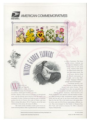 3025-29 32c Winter Flowers USPS 478 Commemorative Panel #cp478
