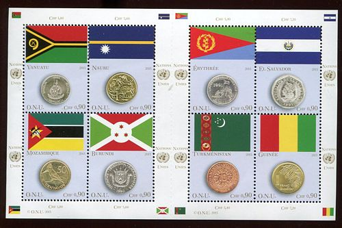UNG 594 90c Coin and Flag Sheet of 8 #ung594